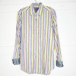 Robert Graham Flip Cuff Stripe Button Down Shirt